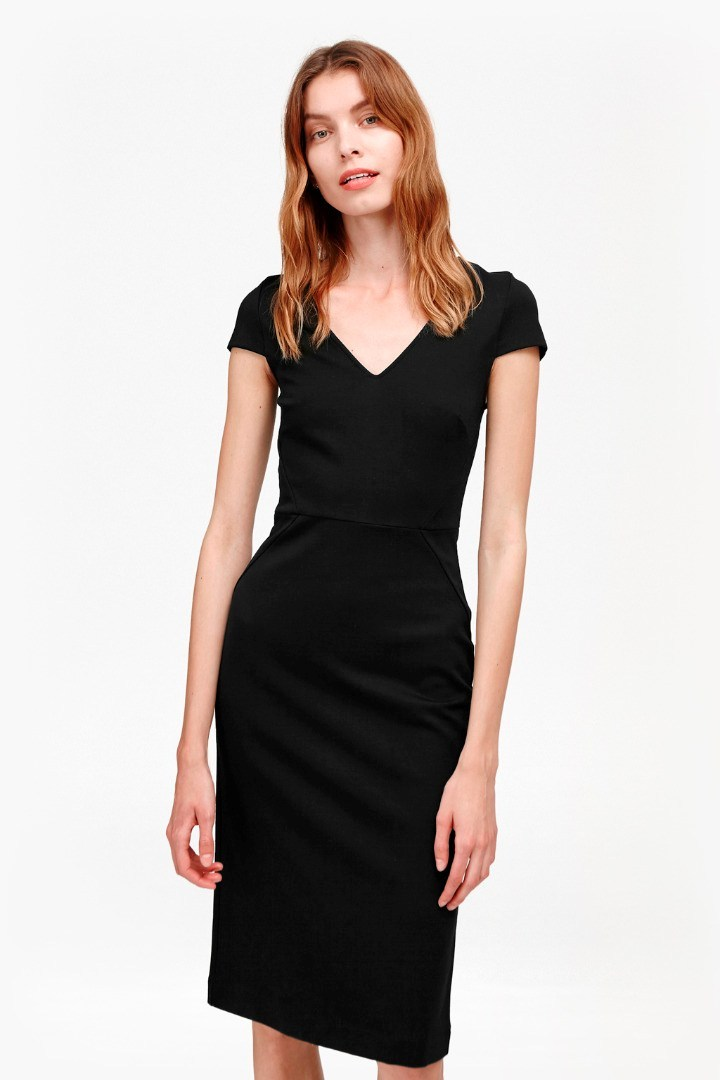 Lula Stretch Bodycon Midi Dress Black - length: below the knee; neckline: v-neck; fit: tight; pattern: plain; style: bodycon; predominant colour: black; occasions: evening; fibres: viscose/rayon - 100%; sleeve length: short sleeve; sleeve style: standard; texture group: jersey - clingy; pattern type: fabric; season: s/s 2016; wardrobe: event