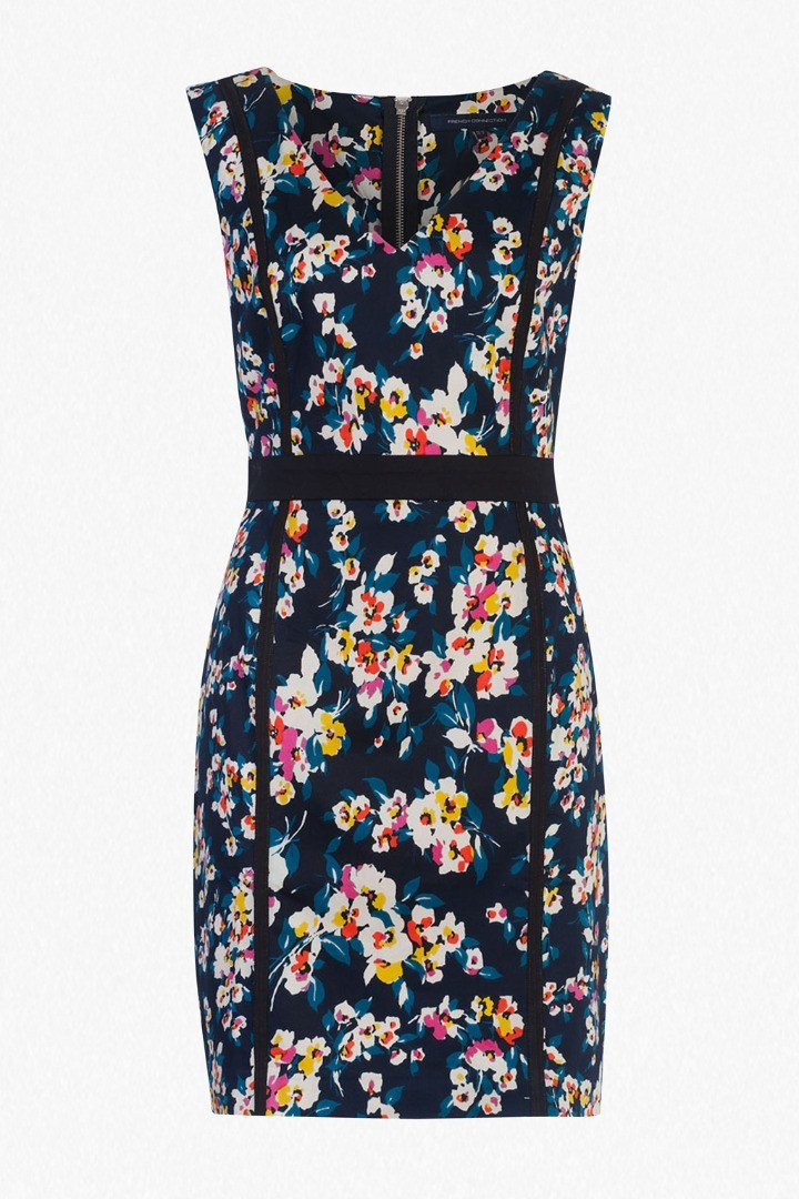 River Daisy Printed Pencil Dress Utility Blue Multi - style: shift; length: mid thigh; neckline: v-neck; fit: tailored/fitted; sleeve style: sleeveless; secondary colour: ivory/cream; predominant colour: navy; occasions: evening; fibres: cotton - stretch; sleeve length: sleeveless; pattern type: fabric; pattern: florals; texture group: other - light to midweight; multicoloured: multicoloured; season: s/s 2016; wardrobe: event