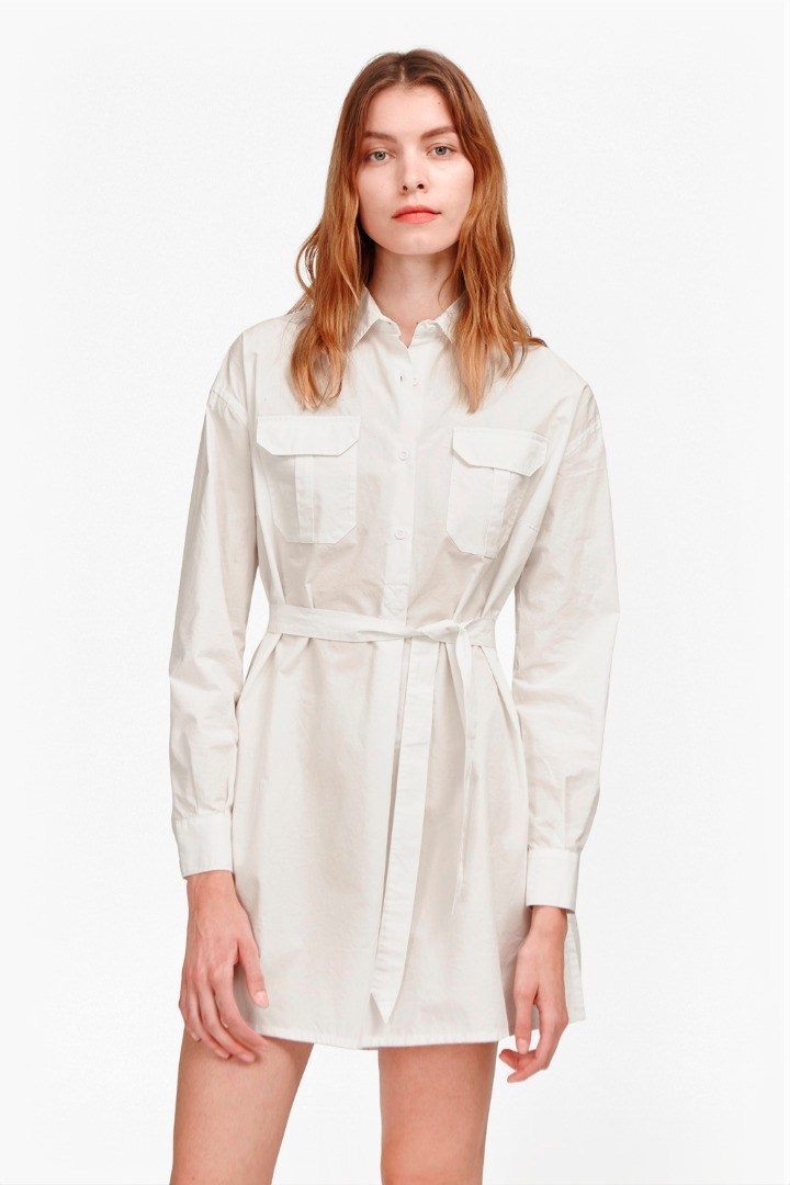Army Poplin Tunic Shirt Winter White - style: shirt; length: mid thigh; neckline: shirt collar/peter pan/zip with opening; fit: loose; pattern: plain; waist detail: belted waist/tie at waist/drawstring; predominant colour: white; occasions: casual, creative work; fibres: cotton - 100%; sleeve length: long sleeve; sleeve style: standard; texture group: cotton feel fabrics; bust detail: bulky details at bust; pattern type: fabric; season: s/s 2016; wardrobe: highlight