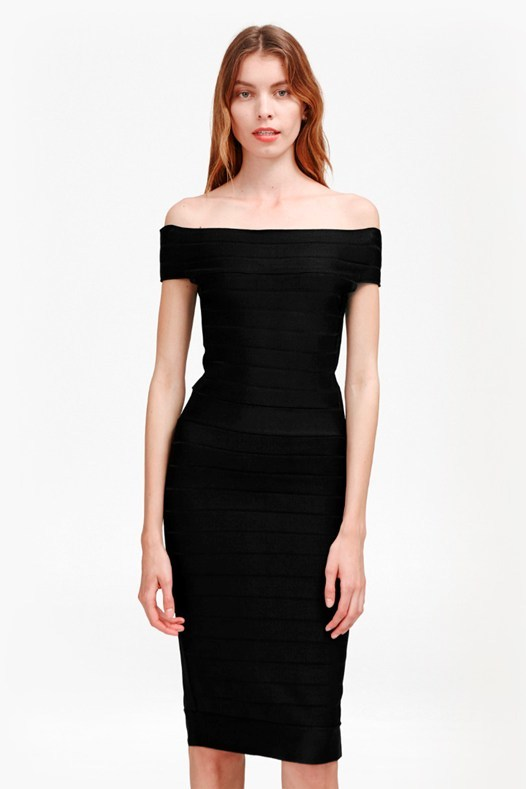 Spotlight Star Knits Off The Shoulder Dress Black - length: below the knee; neckline: off the shoulder; sleeve style: capped; fit: tight; pattern: plain; style: bodycon; predominant colour: black; occasions: evening; fibres: viscose/rayon - stretch; sleeve length: short sleeve; texture group: jersey - clingy; pattern type: fabric; season: s/s 2016; wardrobe: event