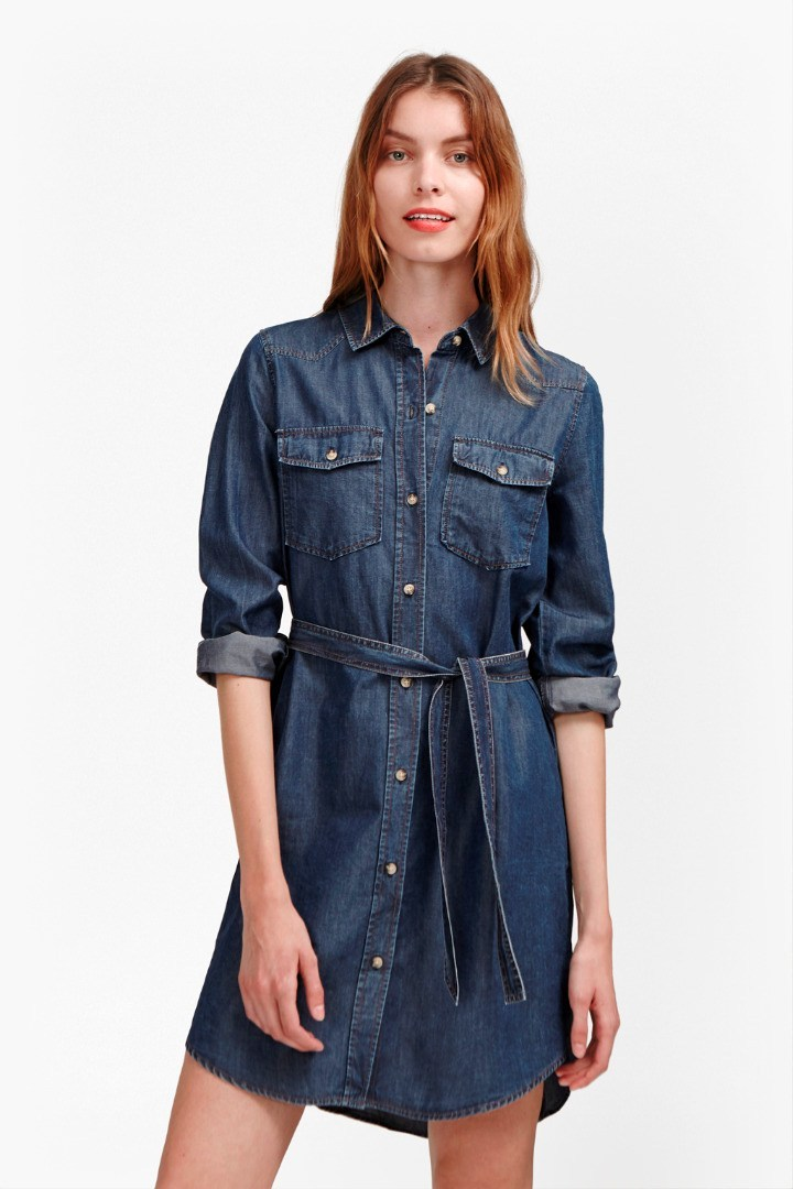 Denim Tencel Western Shirt Dress Washed Indigo - style: shirt; length: mid thigh; neckline: shirt collar/peter pan/zip with opening; pattern: plain; waist detail: belted waist/tie at waist/drawstring; predominant colour: navy; occasions: casual; fit: straight cut; fibres: cotton - stretch; sleeve length: 3/4 length; sleeve style: standard; texture group: denim; bust detail: bulky details at bust; pattern type: fabric; season: s/s 2016; wardrobe: highlight