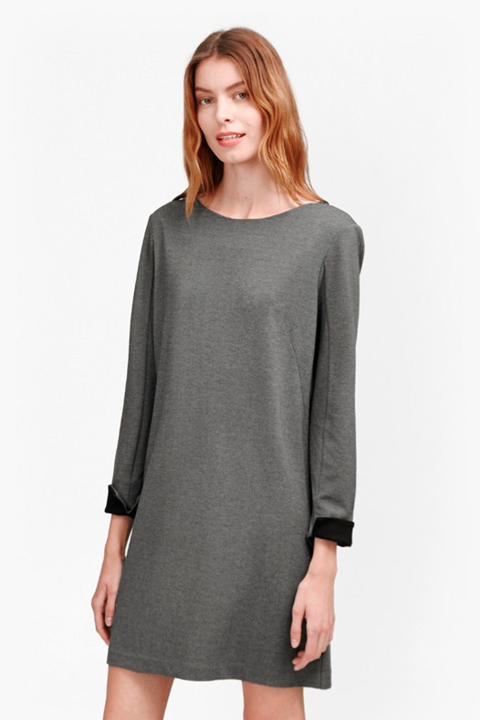 Lula Tiff Slash Neck Dress Nocturnal/Black - style: tunic; length: mid thigh; neckline: slash/boat neckline; predominant colour: charcoal; secondary colour: black; fit: straight cut; fibres: polyester/polyamide - 100%; sleeve length: long sleeve; sleeve style: standard; pattern type: fabric; pattern size: standard; texture group: other - light to midweight; occasions: creative work; pattern: marl; season: s/s 2016; wardrobe: highlight