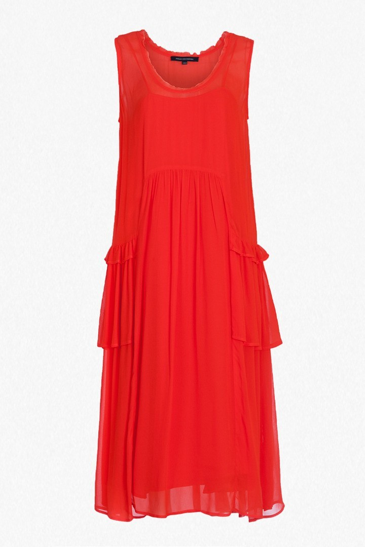 Rosie Drape Ruffled Dress Red Sunrise - style: shift; length: below the knee; sleeve style: standard vest straps/shoulder straps; pattern: plain; predominant colour: true red; occasions: evening; fit: soft a-line; neckline: scoop; fibres: polyester/polyamide - 100%; hip detail: adds bulk at the hips; sleeve length: sleeveless; texture group: sheer fabrics/chiffon/organza etc.; pattern type: fabric; season: s/s 2016; wardrobe: event