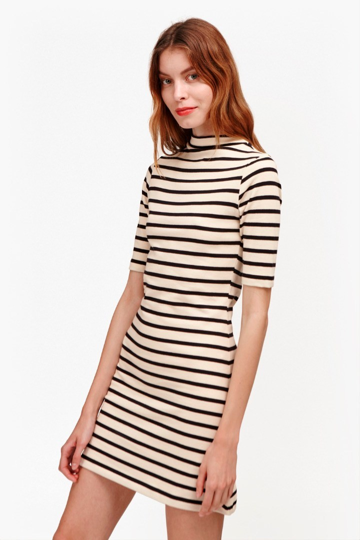 Terry Stripe Mock Neck Dress Nocturnal/Classic Cream - style: shift; length: mini; pattern: horizontal stripes; neckline: high neck; predominant colour: ivory/cream; secondary colour: black; occasions: casual; fit: body skimming; fibres: cotton - mix; hip detail: structured pleats at hip; sleeve length: half sleeve; sleeve style: standard; pattern type: fabric; texture group: jersey - stretchy/drapey; multicoloured: multicoloured; season: s/s 2016