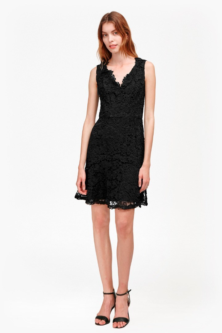 Bloomsbury Lace Peplum Hem Dress Black - style: shift; neckline: v-neck; fit: tailored/fitted; sleeve style: sleeveless; predominant colour: black; occasions: evening; length: just above the knee; fibres: cotton - 100%; sleeve length: sleeveless; texture group: lace; pattern type: fabric; pattern size: standard; pattern: patterned/print; season: s/s 2016; wardrobe: event
