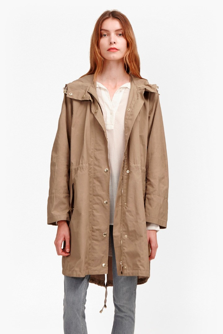 Harbour Hooded Parka Coat Sandstone - pattern: plain; collar: funnel; fit: loose; style: parka; length: mid thigh; predominant colour: stone; occasions: casual; fibres: nylon - mix; waist detail: belted waist/tie at waist/drawstring; sleeve length: long sleeve; sleeve style: standard; texture group: cotton feel fabrics; collar break: high; pattern type: fabric; season: s/s 2016; wardrobe: basic