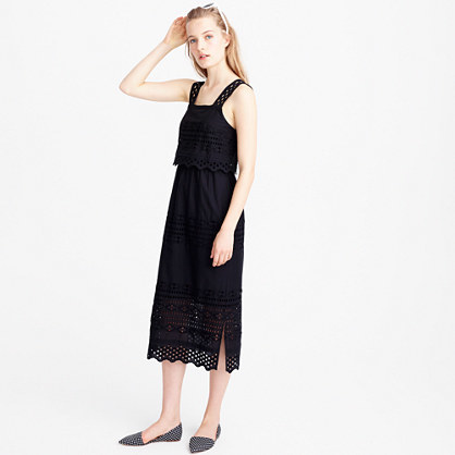 Tiered Eyelet Midi Dress - style: shift; length: calf length; sleeve style: sleeveless; predominant colour: black; occasions: evening; fit: body skimming; fibres: cotton - 100%; sleeve length: sleeveless; texture group: lace; neckline: medium square neck; pattern type: fabric; pattern: patterned/print; season: s/s 2016; wardrobe: event