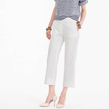 Patio Pant In Eyelet - pattern: plain; waist: mid/regular rise; predominant colour: ivory/cream; occasions: casual; length: calf length; fibres: cotton - 100%; fit: straight leg; pattern type: fabric; texture group: other - light to midweight; style: standard; season: s/s 2016; wardrobe: basic