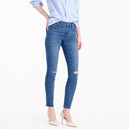 Toothpick Jean In Skipper Wash - style: skinny leg; length: standard; pattern: plain; pocket detail: traditional 5 pocket; waist: mid/regular rise; predominant colour: navy; occasions: casual; fibres: cotton - stretch; texture group: denim; pattern type: fabric; jeans detail: rips; season: s/s 2016; wardrobe: basic