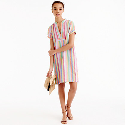Candy Stripe Dress - style: shift; pattern: vertical stripes; predominant colour: pink; secondary colour: pistachio; occasions: casual; length: on the knee; fit: body skimming; neckline: collarstand & mandarin with v-neck; fibres: cotton - mix; sleeve length: short sleeve; sleeve style: standard; pattern type: fabric; texture group: other - light to midweight; multicoloured: multicoloured; season: s/s 2016; wardrobe: highlight
