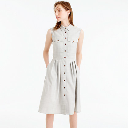Sleeveless Shirtdress In Super 120s - length: below the knee; neckline: shirt collar/peter pan/zip with opening; pattern: plain; sleeve style: sleeveless; predominant colour: light grey; occasions: casual; fit: fitted at waist & bust; style: fit & flare; fibres: wool - 100%; sleeve length: sleeveless; pattern type: fabric; texture group: other - light to midweight; season: s/s 2016