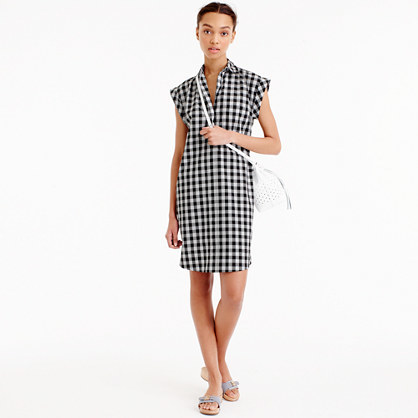 Classic Short Sleeve Shirtdress In Gingham - style: shirt; neckline: shirt collar/peter pan/zip with opening; sleeve style: capped; pattern: checked/gingham; secondary colour: white; predominant colour: black; occasions: casual; length: just above the knee; fit: body skimming; fibres: cotton - 100%; sleeve length: short sleeve; pattern type: fabric; texture group: jersey - stretchy/drapey; season: s/s 2016; wardrobe: highlight