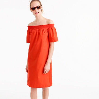 Petite Off The Shoulder Dress In Cotton Poplin - style: shift; neckline: off the shoulder; pattern: plain; predominant colour: bright orange; occasions: casual; length: on the knee; fit: body skimming; fibres: cotton - 100%; sleeve length: short sleeve; sleeve style: standard; texture group: cotton feel fabrics; pattern type: fabric; season: s/s 2016; wardrobe: highlight
