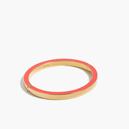 Enamel Edge Bracelet - secondary colour: pink; predominant colour: gold; occasions: evening; style: bangle/standard; size: standard; material: chain/metal; finish: metallic; season: s/s 2016; wardrobe: event