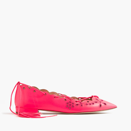 Leather Eyelet Lace Up Flats - predominant colour: hot pink; occasions: casual, creative work; material: leather; heel height: flat; ankle detail: ankle tie; toe: pointed toe; style: ballerinas / pumps; finish: plain; pattern: plain; season: s/s 2016; wardrobe: highlight