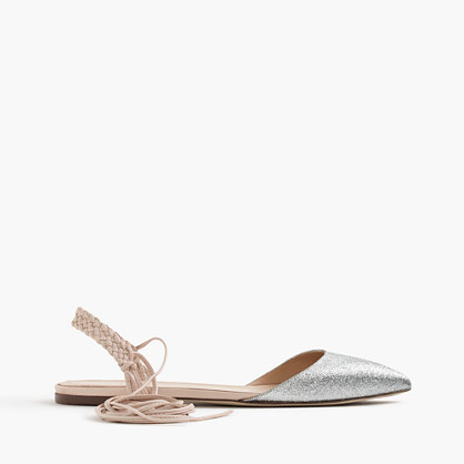 Slingback Glitter Flats - predominant colour: silver; occasions: casual, creative work; material: leather; heel height: flat; ankle detail: ankle tie; toe: pointed toe; style: ballerinas / pumps; finish: metallic; pattern: colourblock; season: s/s 2016; wardrobe: highlight