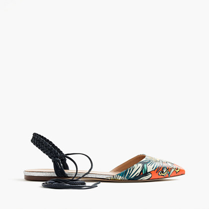 Slingback Flats In Punchy Floral - predominant colour: bright orange; occasions: casual, creative work; material: faux leather; heel height: flat; ankle detail: ankle tie; toe: pointed toe; style: ballerinas / pumps; finish: plain; pattern: patterned/print; multicoloured: multicoloured; season: s/s 2016