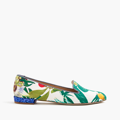 Loafers With Glitter Heel In Ratti® Into The Wild Print - predominant colour: emerald green; occasions: casual, creative work; material: leather; heel height: flat; toe: round toe; style: loafers; finish: plain; pattern: patterned/print; multicoloured: multicoloured; season: s/s 2016; wardrobe: highlight