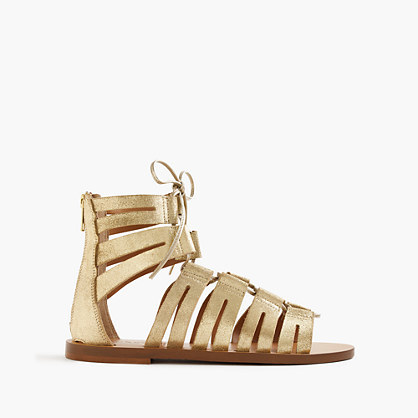 Metallic Suede Lace Up Gladiator Sandals - predominant colour: gold; occasions: casual, holiday; material: suede; heel height: flat; ankle detail: ankle tie; heel: standard; toe: open toe/peeptoe; style: strappy; finish: metallic; pattern: plain; season: s/s 2016