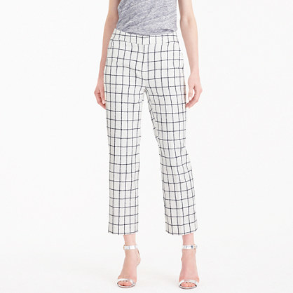 Patio Pant In Windowpane Tweed - pattern: checked/gingham; waist: mid/regular rise; predominant colour: white; secondary colour: black; occasions: casual, creative work; length: ankle length; fibres: cotton - mix; fit: straight leg; pattern type: fabric; texture group: woven light midweight; style: standard; pattern size: standard (bottom); season: s/s 2016