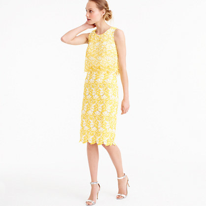 Collection Tiered Dress In Warm Sun Austrian Lace - style: shift; neckline: round neck; fit: tailored/fitted; pattern: plain; sleeve style: sleeveless; waist detail: fitted waist; predominant colour: yellow; length: on the knee; fibres: polyester/polyamide - 100%; occasions: occasion; sleeve length: sleeveless; pattern type: fabric; texture group: other - light to midweight; embellishment: lace; season: s/s 2016; wardrobe: event