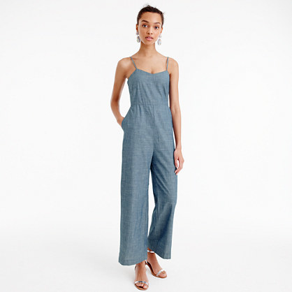 Chambray Jumpsuit - length: standard; sleeve style: spaghetti straps; pattern: plain; predominant colour: denim; occasions: casual; fit: body skimming; neckline: scoop; fibres: cotton - 100%; sleeve length: sleeveless; texture group: denim; style: jumpsuit; pattern type: fabric; season: s/s 2016; wardrobe: highlight