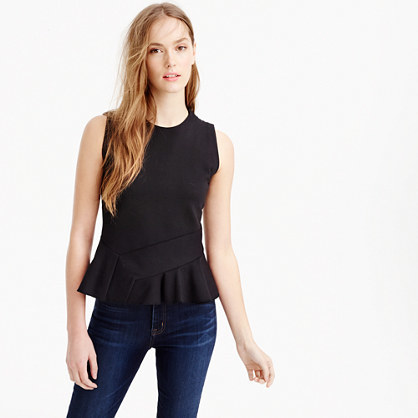 Structured Flutter Hem Top - pattern: plain; sleeve style: sleeveless; waist detail: peplum waist detail; predominant colour: black; occasions: casual; length: standard; style: top; fibres: cotton - stretch; fit: tight; neckline: crew; sleeve length: sleeveless; texture group: jersey - clingy; pattern type: fabric; season: s/s 2016; wardrobe: basic
