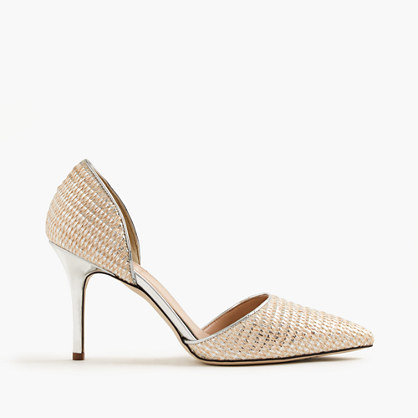 Elsie Metallic Woven D'orsay Pumps - predominant colour: gold; occasions: occasion; material: leather; heel height: high; heel: stiletto; toe: pointed toe; style: courts; finish: metallic; pattern: patterned/print; season: s/s 2016; wardrobe: event