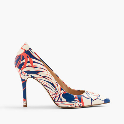 Roxie Pumps In Retro Floral - predominant colour: royal blue; occasions: occasion; material: leather; heel height: high; heel: stiletto; toe: pointed toe; style: courts; finish: plain; pattern: patterned/print; multicoloured: multicoloured; season: s/s 2016