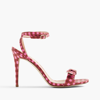 Gingham Leather Sandals With Bow - secondary colour: hot pink; predominant colour: true red; occasions: evening, occasion; material: leather; heel height: high; ankle detail: ankle strap; heel: stiletto; toe: open toe/peeptoe; style: standard; finish: plain; pattern: checked/gingham; embellishment: bow; season: s/s 2016; wardrobe: event