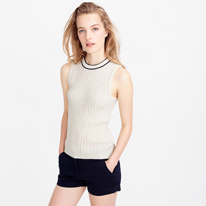 Italian Bouclé Tipped Shell - pattern: plain; sleeve style: sleeveless; predominant colour: ivory/cream; occasions: casual; length: standard; style: top; fibres: cotton - mix; fit: body skimming; neckline: crew; sleeve length: sleeveless; texture group: knits/crochet; pattern type: knitted - fine stitch; season: s/s 2016; wardrobe: basic