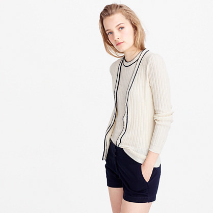 Italian Bouclé Cardigan Sweater - neckline: v-neck; pattern: plain; predominant colour: ivory/cream; occasions: casual; length: standard; style: standard; fibres: cotton - mix; fit: slim fit; sleeve length: long sleeve; sleeve style: standard; texture group: knits/crochet; pattern type: knitted - fine stitch; season: s/s 2016; wardrobe: basic