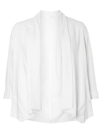White Linen Blend Jacket - pattern: plain; style: single breasted blazer; collar: shawl/waterfall; predominant colour: ivory/cream; length: standard; fit: straight cut (boxy); fibres: linen - mix; sleeve length: 3/4 length; sleeve style: standard; texture group: linen; collar break: low/open; pattern type: fabric; occasions: creative work; season: s/s 2016; wardrobe: investment