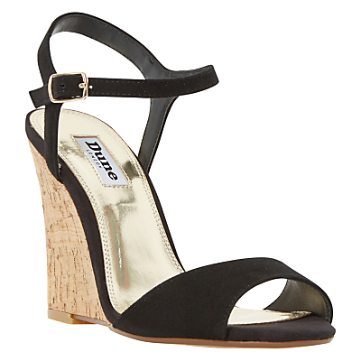 Monteca Wedge Heeled Sandals - predominant colour: black; occasions: evening; material: suede; ankle detail: ankle strap; heel: wedge; toe: open toe/peeptoe; style: standard; finish: plain; pattern: plain; heel height: very high; season: s/s 2016; wardrobe: event