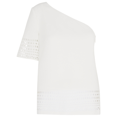 One Shoulder Laser Cut Top, Ivory - pattern: plain; neckline: asymmetric; predominant colour: white; occasions: casual; length: standard; style: top; fibres: polyester/polyamide - 100%; fit: body skimming; sleeve length: short sleeve; sleeve style: standard; texture group: crepes; pattern type: fabric; season: s/s 2016
