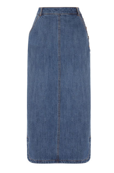 Maxi Denim Skirt - pattern: plain; length: ankle length; fit: tailored/fitted; waist: high rise; hip detail: draws attention to hips; predominant colour: denim; occasions: casual; style: maxi skirt; fibres: cotton - stretch; waist detail: feature waist detail; texture group: denim; pattern type: fabric; season: s/s 2016; wardrobe: basic