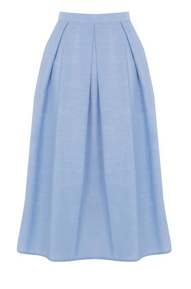 Full Cotton Midi Skirt - length: below the knee; pattern: plain; style: full/prom skirt; fit: loose/voluminous; waist: high rise; predominant colour: pale blue; occasions: casual, creative work; fibres: cotton - 100%; hip detail: structured pleats at hip; waist detail: narrow waistband; pattern type: fabric; texture group: woven light midweight; season: s/s 2016