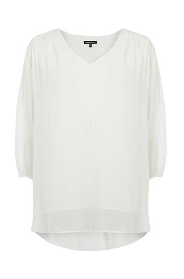 Batwing Loop Top - neckline: v-neck; pattern: plain; style: blouse; predominant colour: ivory/cream; occasions: casual, creative work; length: standard; fibres: polyester/polyamide - 100%; fit: straight cut; sleeve length: 3/4 length; sleeve style: standard; texture group: crepes; pattern type: fabric; season: s/s 2016; wardrobe: basic