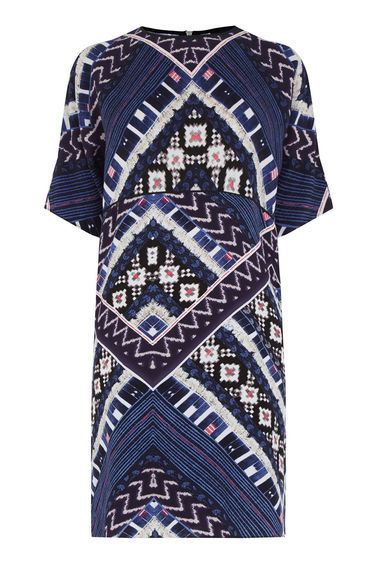 Patchwork Print Tshirt Dress - style: shift; length: mid thigh; sleeve style: dolman/batwing; secondary colour: white; predominant colour: navy; occasions: evening, creative work; fit: straight cut; fibres: polyester/polyamide - 100%; neckline: crew; sleeve length: half sleeve; pattern type: fabric; pattern: patterned/print; texture group: woven light midweight; multicoloured: multicoloured; season: s/s 2016; wardrobe: highlight