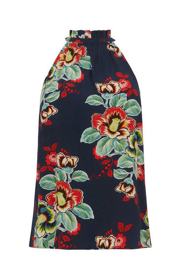 Botanical Print Halter Cami - sleeve style: sleeveless; style: camisole; secondary colour: true red; predominant colour: navy; occasions: casual, creative work; length: standard; fibres: polyester/polyamide - 100%; fit: straight cut; sleeve length: sleeveless; pattern type: fabric; pattern: florals; texture group: woven light midweight; pattern size: big & busy (top); multicoloured: multicoloured; season: s/s 2016; neckline: high halter neck; wardrobe: highlight