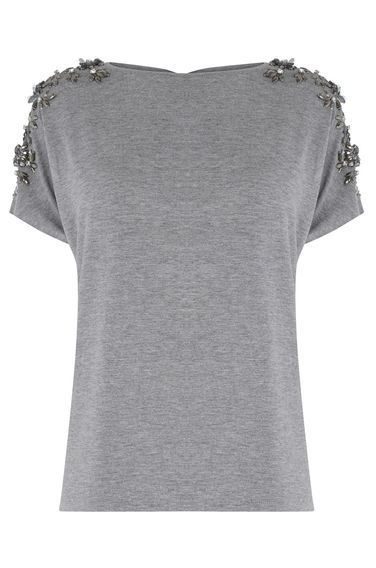 Floral Embellished Tee - pattern: plain; style: t-shirt; secondary colour: silver; predominant colour: mid grey; occasions: casual, creative work; length: standard; fibres: cotton - stretch; fit: body skimming; neckline: crew; shoulder detail: added shoulder detail; sleeve length: short sleeve; sleeve style: standard; pattern type: fabric; texture group: jersey - stretchy/drapey; embellishment: applique; season: s/s 2016; wardrobe: highlight