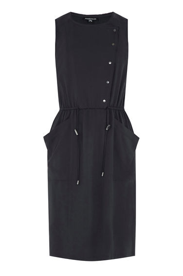 Utility Popper Dress - style: shift; length: mid thigh; fit: tailored/fitted; pattern: plain; sleeve style: sleeveless; bust detail: ruching/gathering/draping/layers/pintuck pleats at bust; predominant colour: navy; fibres: polyester/polyamide - 100%; neckline: crew; hip detail: ruching/gathering at hip; sleeve length: sleeveless; texture group: crepes; pattern type: fabric; occasions: creative work; season: s/s 2016; wardrobe: investment