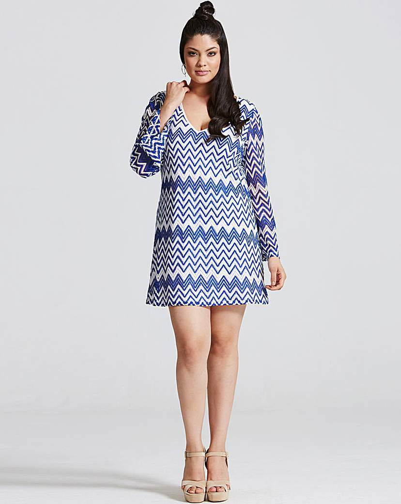 Girls On Film Chevron Print Dress - style: shift; length: mid thigh; neckline: round neck; secondary colour: white; predominant colour: denim; occasions: casual; fit: body skimming; fibres: polyester/polyamide - 100%; sleeve length: long sleeve; sleeve style: standard; pattern type: fabric; pattern: patterned/print; texture group: other - light to midweight; multicoloured: multicoloured; season: s/s 2016; wardrobe: highlight