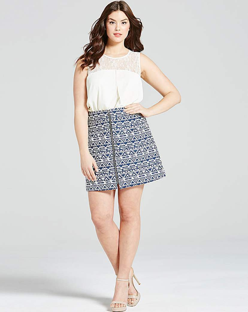 Girls On Film Navy Aztec Zip Front Skirt - length: mini; fit: loose/voluminous; waist: high rise; secondary colour: white; predominant colour: navy; occasions: evening; style: a-line; fibres: polyester/polyamide - mix; pattern type: fabric; pattern: patterned/print; texture group: brocade/jacquard; multicoloured: multicoloured; season: s/s 2016; wardrobe: event