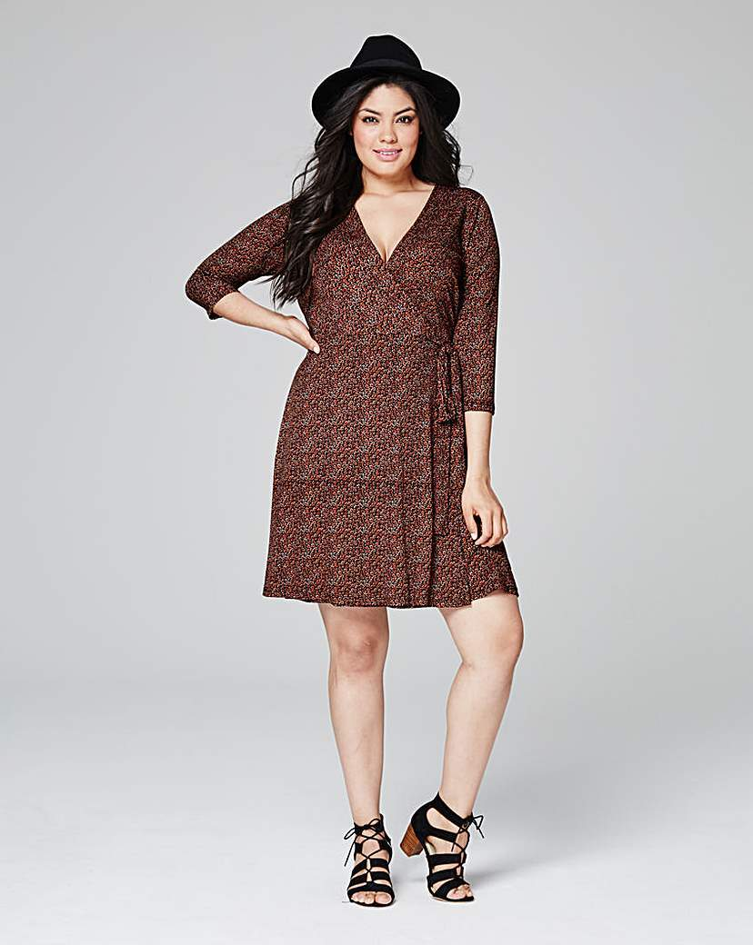 Ditsy Print Deep Plunge Wrap Dress - style: faux wrap/wrap; neckline: v-neck; predominant colour: chocolate brown; occasions: casual; length: just above the knee; fit: body skimming; fibres: polyester/polyamide - stretch; sleeve length: 3/4 length; sleeve style: standard; pattern type: fabric; pattern: patterned/print; texture group: jersey - stretchy/drapey; season: s/s 2016; wardrobe: highlight