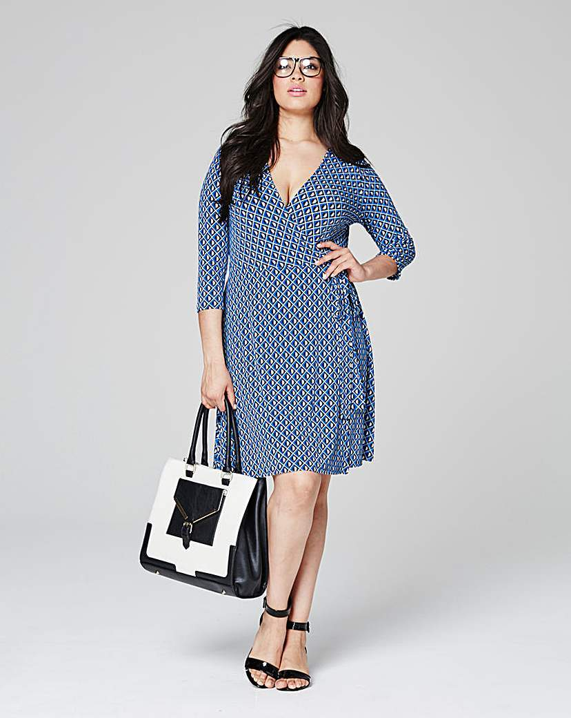 Blue Geo Print Deep Plunge Wrap Dress - style: faux wrap/wrap; neckline: v-neck; waist detail: belted waist/tie at waist/drawstring; predominant colour: denim; occasions: evening; length: just above the knee; fit: body skimming; fibres: polyester/polyamide - stretch; sleeve length: 3/4 length; sleeve style: standard; pattern type: fabric; pattern: patterned/print; texture group: jersey - stretchy/drapey; season: s/s 2016; wardrobe: event
