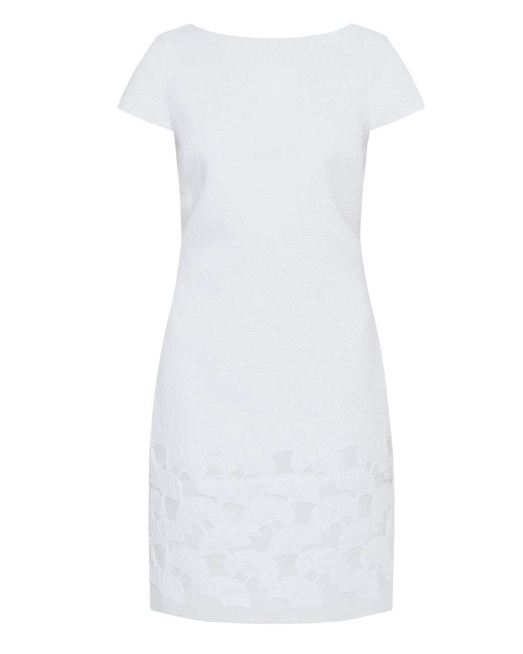 Juliene Jacquard Midi Dress, Winter White - style: shift; fit: tailored/fitted; pattern: plain; predominant colour: white; occasions: evening; length: just above the knee; fibres: cotton - mix; neckline: crew; sleeve length: short sleeve; sleeve style: standard; pattern type: fabric; texture group: brocade/jacquard; season: s/s 2016