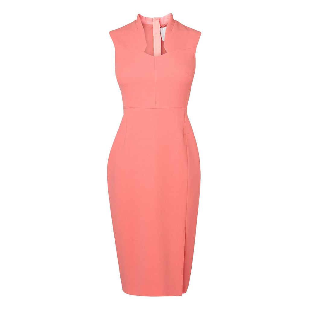 Dendra Dress, Pink - style: shift; neckline: v-neck; fit: tailored/fitted; pattern: plain; sleeve style: sleeveless; predominant colour: pink; length: just above the knee; fibres: polyester/polyamide - mix; occasions: occasion; sleeve length: sleeveless; pattern type: fabric; texture group: other - light to midweight; season: s/s 2016; wardrobe: event