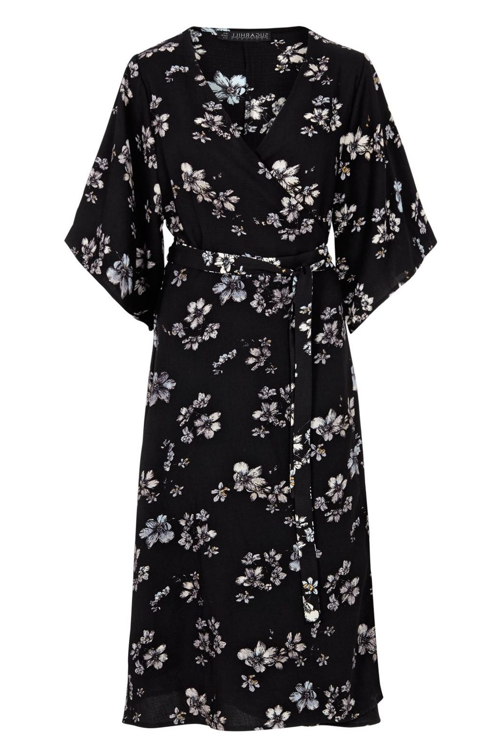 Neve Boho Wrap Dress, Black - style: faux wrap/wrap; length: below the knee; neckline: v-neck; fit: fitted at waist; sleeve style: kimono; predominant colour: black; fibres: polyester/polyamide - 100%; occasions: occasion, creative work; sleeve length: 3/4 length; pattern type: fabric; pattern size: big & busy; pattern: florals; texture group: other - light to midweight; season: s/s 2016; wardrobe: highlight