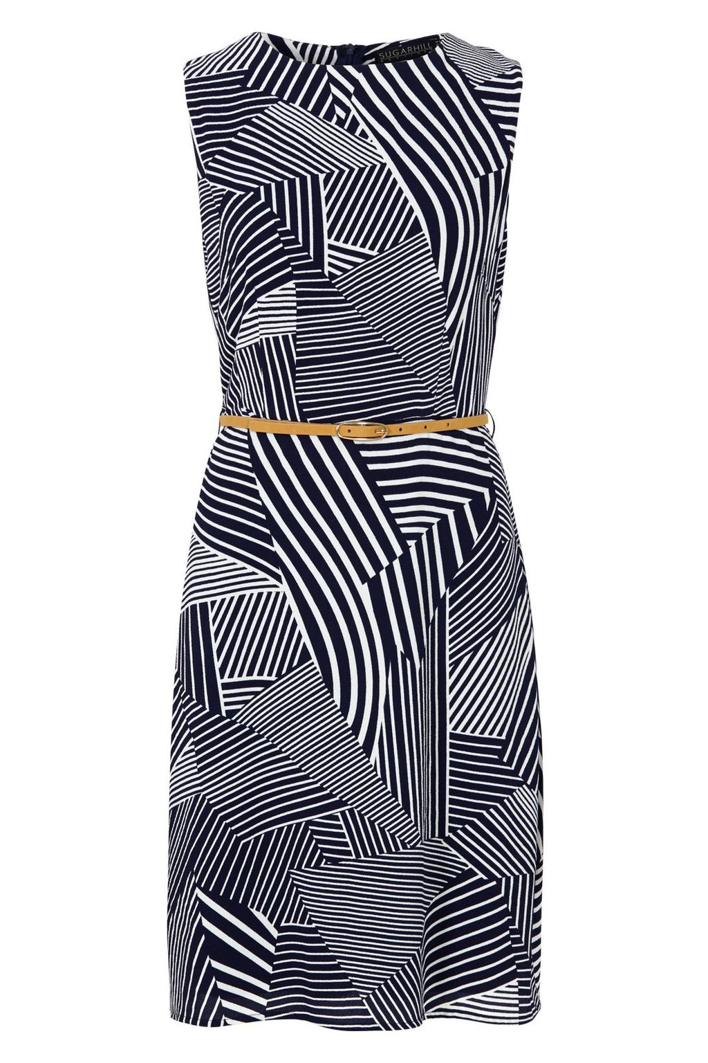 Evelyn Stripe Dress, Multi Coloured - style: shift; neckline: round neck; fit: tailored/fitted; sleeve style: sleeveless; waist detail: belted waist/tie at waist/drawstring; predominant colour: charcoal; length: just above the knee; fibres: polyester/polyamide - 100%; sleeve length: sleeveless; pattern type: fabric; pattern size: big & busy; pattern: patterned/print; texture group: other - light to midweight; occasions: creative work; season: s/s 2016; wardrobe: highlight